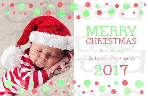 Christmas Holiday Card Red and Green Polka Dots