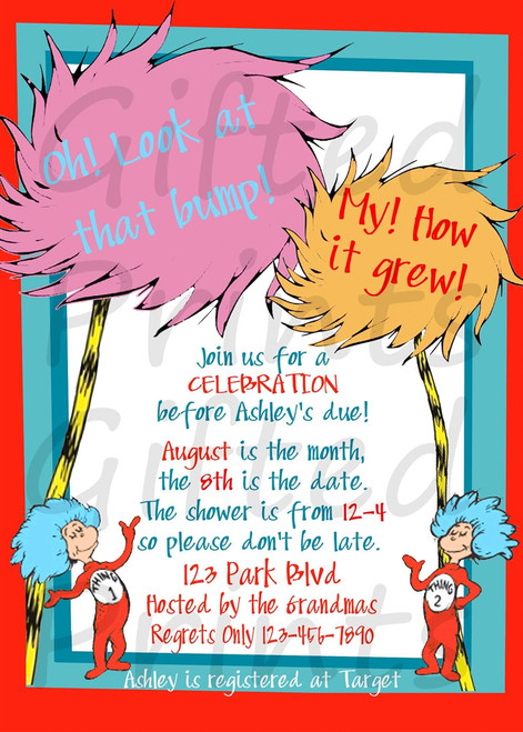 Dr. Seuss Baby Shower Invitation 1