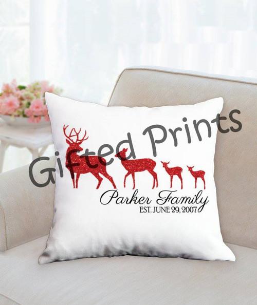 Reindeer Family Pillow