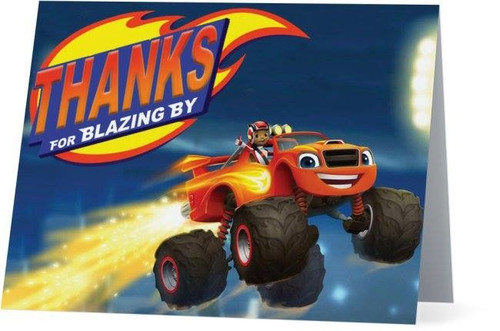 Folded Blaze and the Monster Machines Thank You Card