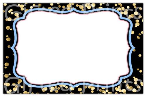 Prince or Princess Black & Gold Confetti Envelope