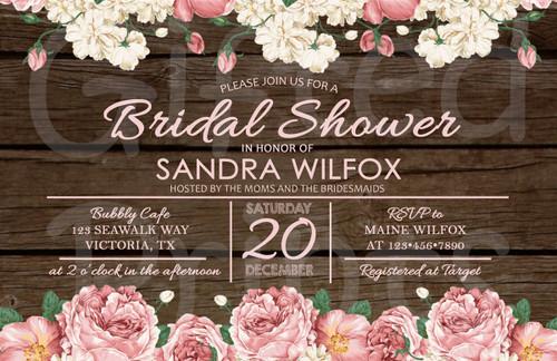 Shabby Chic Floral Bridal Shower Invitation 1