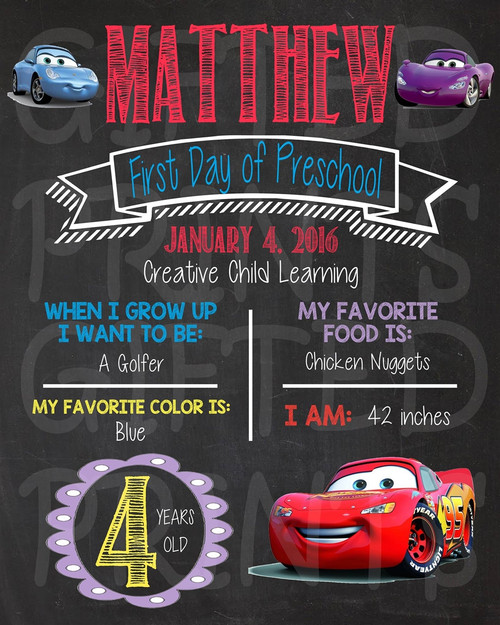 Cars Lightning McQueen First Day of School Chalkboard