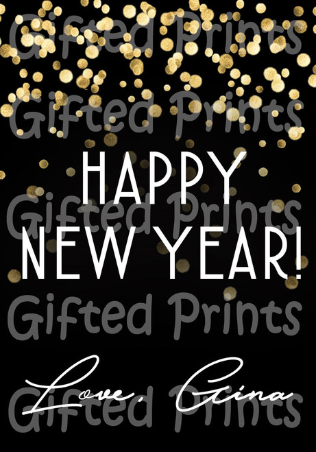 Happy New Year Black and Gold Confetti Wine Label