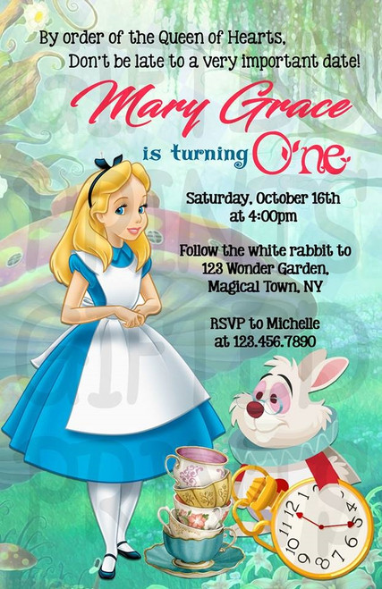 Alice in Wonderland Birthday Invitation