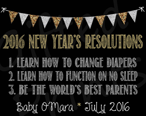 Pregnancy Announcement, New Years Resolutions Theme