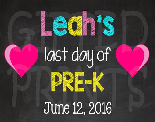 Hearts Last Day of School Chalkboard