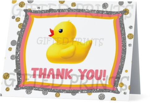 Folded What The Duck Rubber Ducky & Glitter Thank You Card