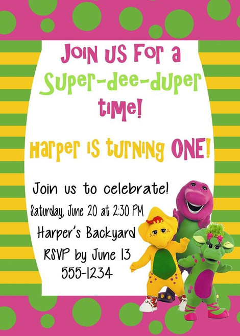 Barney Birthday Invitation