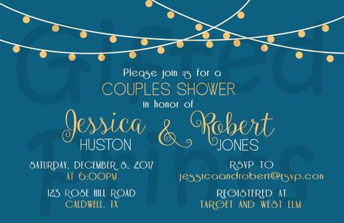 String Lights Backyard Couples Bridal Shower Invitation
