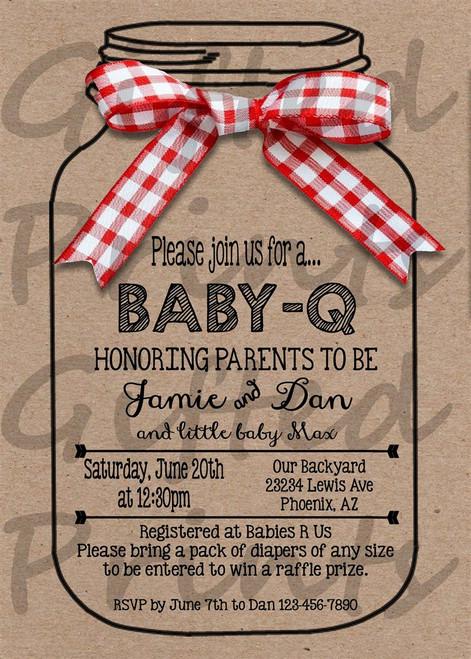 Baby-Q Baby Shower Invitation Mason Jar Border