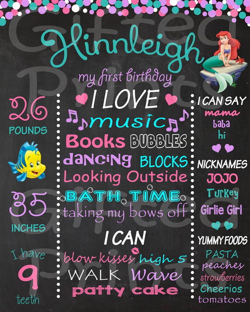 Little Mermaid Birthday Chalkboard