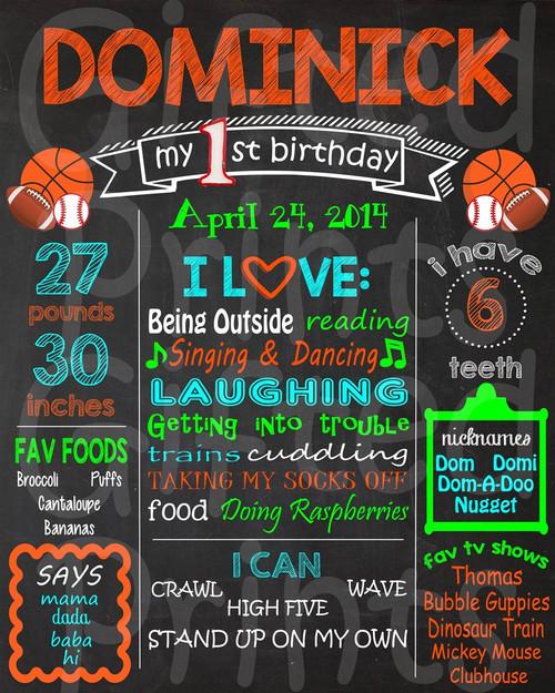 Sports Birthday Chalkboard 1