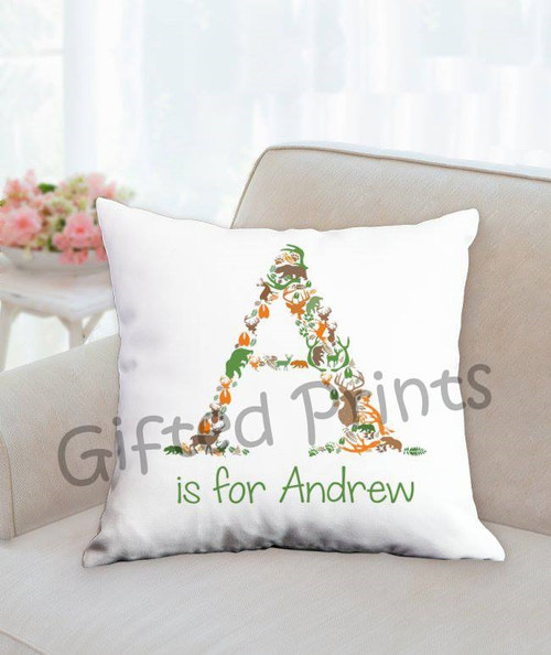 Custom Mosaic Nursery Pillow- Woodlands Theme