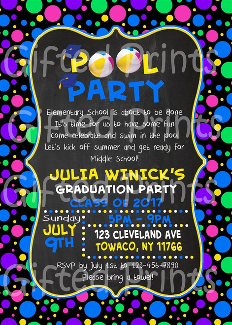 Pool Party Graduation Invitation