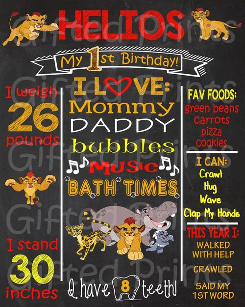 Kion The Lion Guard Birthday Chalkboard
