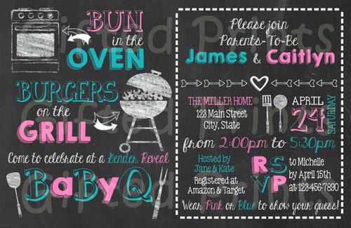 Baby-Q Gender Reveal Invitation Chalkboard Theme