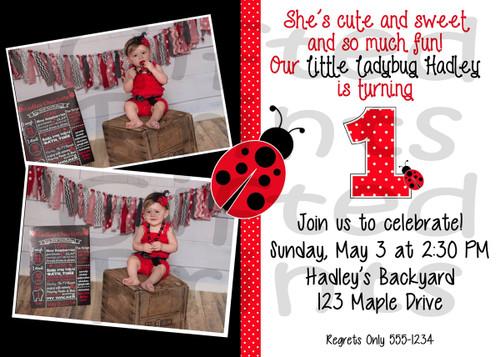 LadyBug Birthday Invitation 1