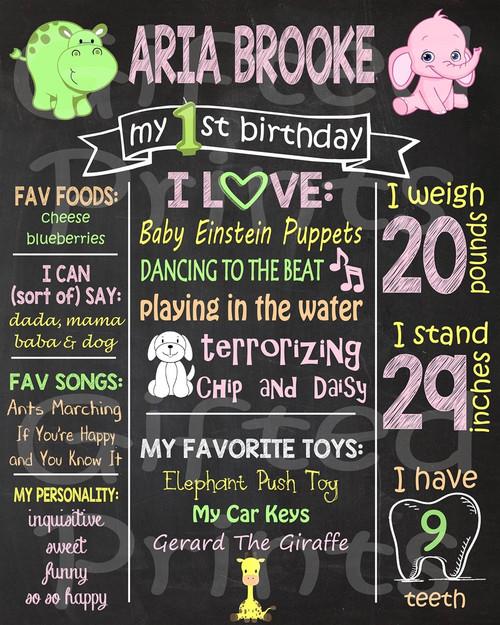 Baby Safari Birthday Chalkboard