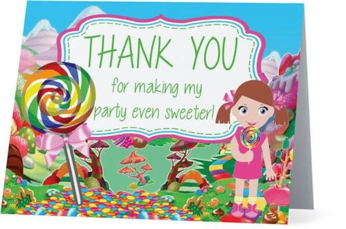 Folded Candy Land Thank You Card 1
