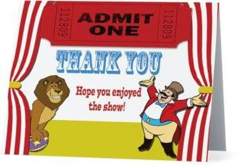 Folded Circus Thank You Card