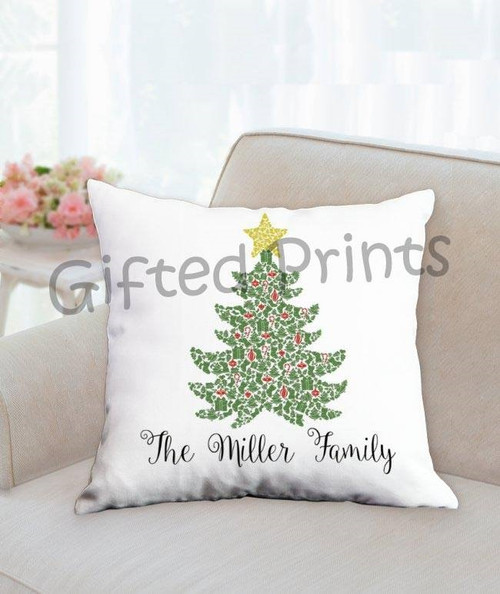 Custom Mosaic Holiday Pillow- Christmas Tree Theme