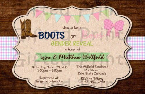Boots or Bows Wood & Plaid Gender Reveal Invitation