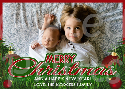 Christmas Holiday Card Tree Border