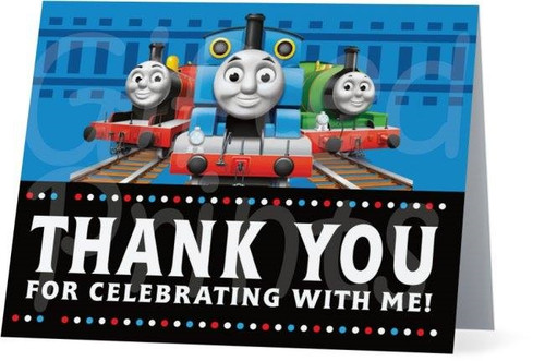 Folded Thomas the Train Thank You Card