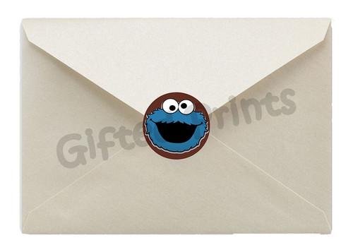 Cookie Monster Sesame Street Envelope Seals Stripes