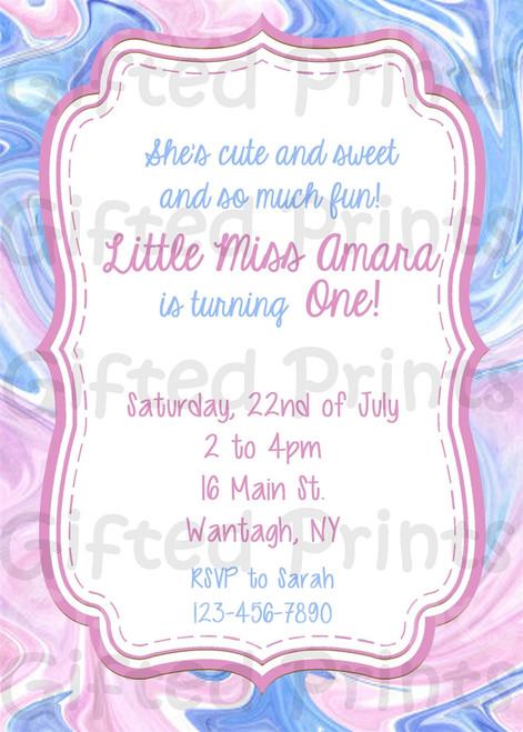 Watercolor Swirl Birthday Invitation