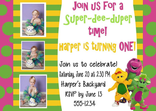 Barney Birthday Invitation With Picture