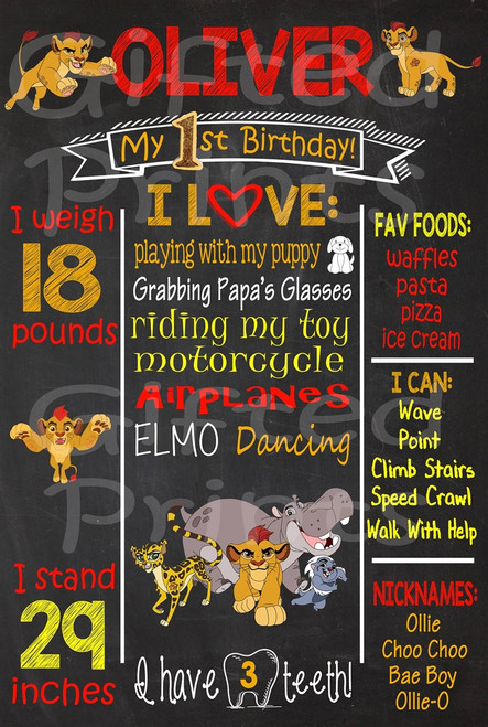 Lion Guard Birthday Chalkboard