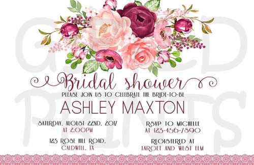 Rustic Floral Bridal Shower Invitation 2