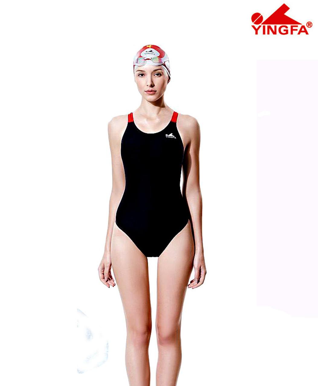 d6840abde5 Yingfa YF613-1 Women's PBT Swimsuits - Black/Red