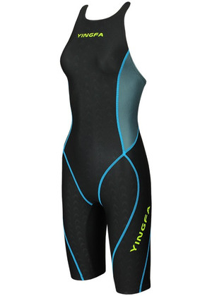 YINGFA YFW953-2 WOMEN'S SHARK SCALE KNEESKIN TECHNICAL SWIMSUIT - BLACK/GRAY