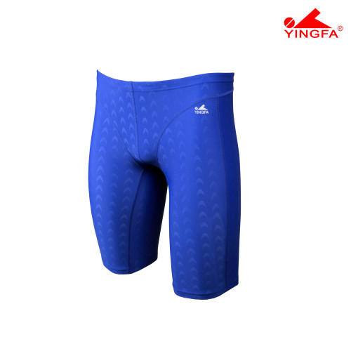 YINGFA 9205-2 BLUE MEN'S SHARK SCALE JAMMERS -Fina Approved