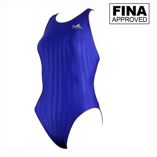 Yingfa YF982-2 Blue Women's Lightning Shark-Skin Swimsuit - Fina Approved