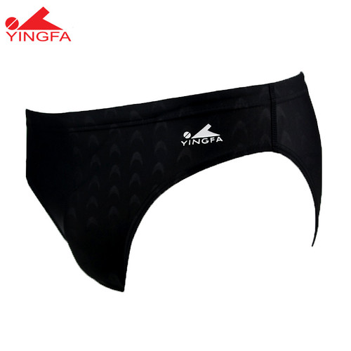 YINGFA YF9201-1 MEN'S SHARK SCALE SWIMMING BRIEF - BLACK