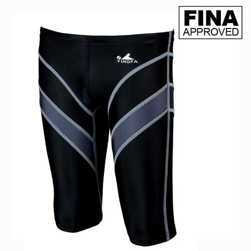 Yingfa 9402-2 Black/Gray Lightning Arrow Sharkskin Men's Jammers -Fina Approved
