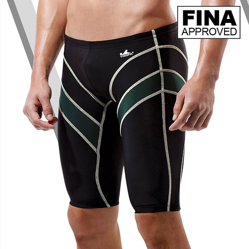 Yingfa 9402-3 Black/Green Lightning Arrow Sharkskin Men's Jammers -Fina Approved