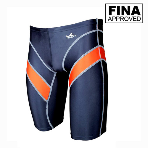 Yingfa 9402-4 Gray/Orange Lightning Arrow Sharkskin Men's Jammers -Fina Approved