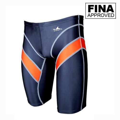 Yingfa 9402-4 Gray/Orange Lightning Arrow Sharkskin Men's Jammers -Fina Approved