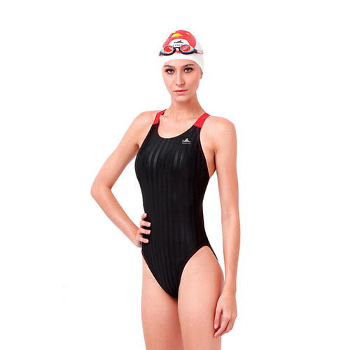 Yingfa YF980-1 Women's Lightning Shark-Skin Swimsuit - Black/Red