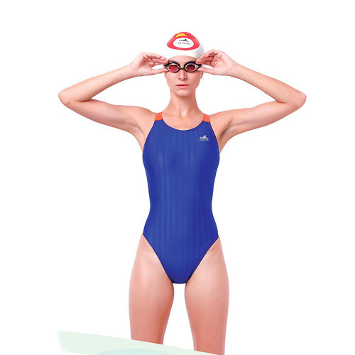 Yingfa YF980 Women's Lightning Shark-Skin Swimsuit - Blue/Orange