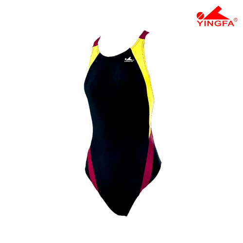 Yingfa 976-3 Aquaskin Costume Women's Swimsuits - Black/Yellow/Maroon