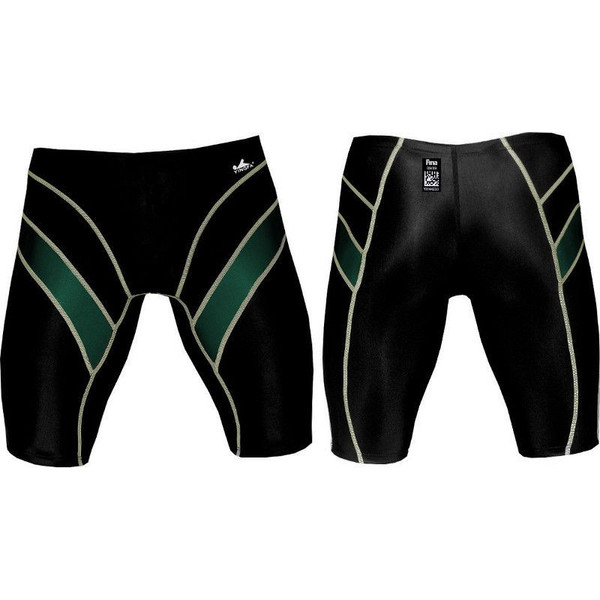 Yingfa 9402-3 Black/Green Lightning Arrow Sharkskin Men's Jammers -Fina Approved
