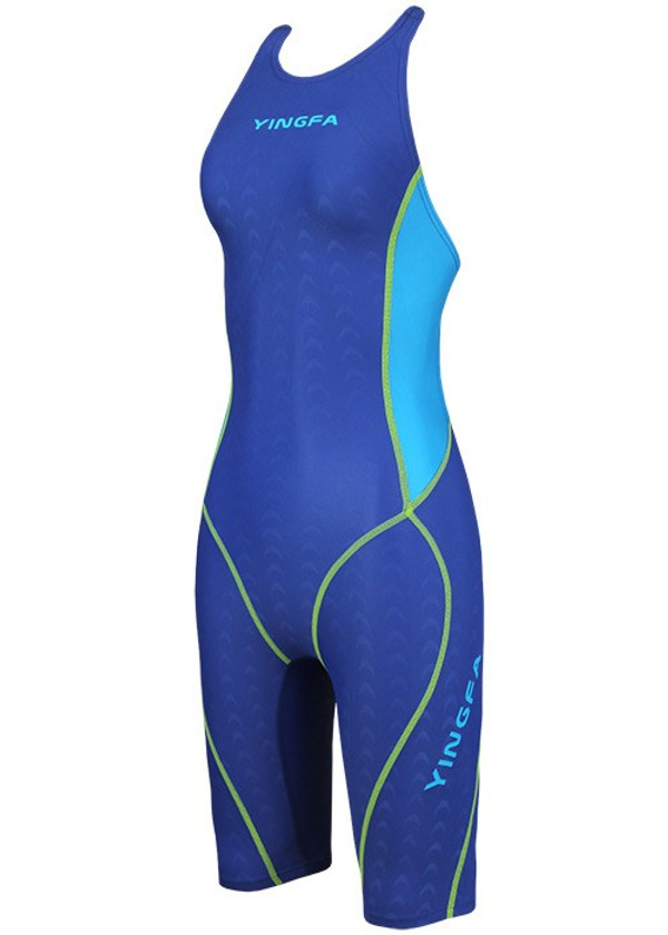 YINGFA YFW953-3 WOMEN'S SHARK SCALE KNEESKIN TECHNICAL SWIMSUIT - BLUE/SKYBLUE