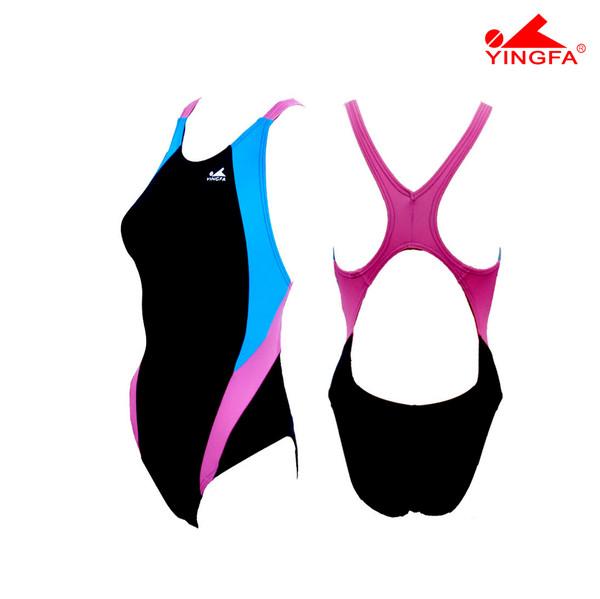 Yingfa 976-2 Aquaskin Costume Women's Swimsuits - Black/Skyblue/Pink