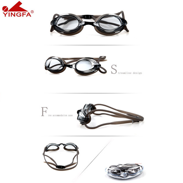 YINGFA Y570AF Anti-Fog Swimiming Goggle With UV Protection - Black